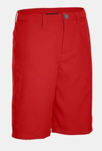 NWT Under Armour Boys' Medal Play Golf Shorts 1274401 600 Red Youth Large