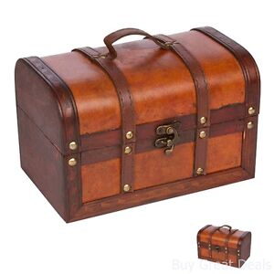 New Small Wooden Leather Antique Chest Suitcase Jewelry Toy Treasure Box Storage