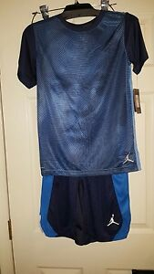 NWT Nike Air Jordan Youth Boys Youth Lg Blue & Black Dri-Fit Shorts Set Gym BB