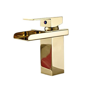 Polished Brass Finish Single Handle Control Single Hole Bathroom Sink Faucet for
