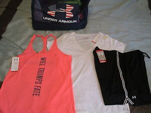 NEW Womens UNDER ARMOUR 3Pc Outfit Wht Tee+Pink Tank Top+Blk Shorts Lg FREE SHIP
