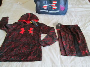 NEW Boys UNDER ARMOUR 3Pc OUTFIT BlkRed Spiderweb UA Logo HOODIE+ YMD FREE SHIP