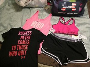 NEW Womens UNDER ARMOUR 4pc OUTFIT Bra+Shorts+Tank+Graphic Tee Lg FREE SHIPPING!
