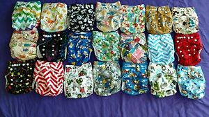 Lot of 21 New Boys Tagless ALVA Cloth Pocket Diapers With Double Gussets