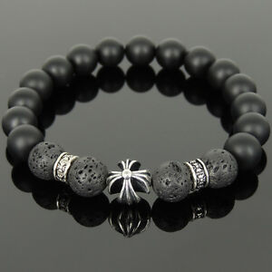 Men's Bracelet 10mm Black Onyx Lava Rock 925 Sterling Silver Cross Bead 1107M