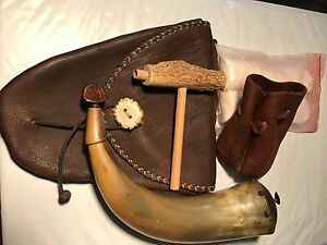 Handmade Powder Horn With Leather Shooter Bag and Accessories!!!!