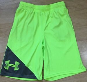 Under Armour Shorts Youth Large Loose Heat Gear Neon Yellow And Gray Pockets $19.99