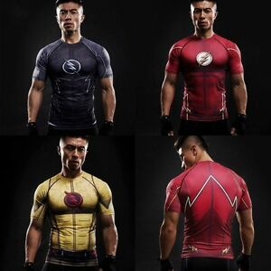 ZOOM 3D Printed T-shirts Men Compression Shirt Short Sleeve Flash Sport Tops