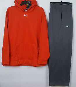 UNDER ARMOUR COLDGEAR SWEATSUIT (HOODIE + PANTS) ORANGE GREY RARE NEW (SIZE 4XL)