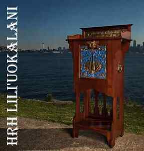 QUEEN LILIUOKALANI'S music cabinet antique english arts & crafts welsh furniture