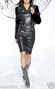 $4875 New VERSACE Studded Black Leather Moto Pencil Skirt  40- 4