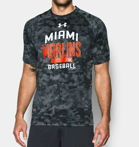NWT UNDER ARMOUR MIAMI MARLINS CAMO TECH PERFORMANCE TOP XL LOOSE $45+