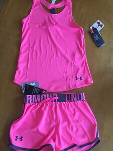 Under Armour Kids Girls Youth Med Shorts And Tank Top NWT Free Shipping
