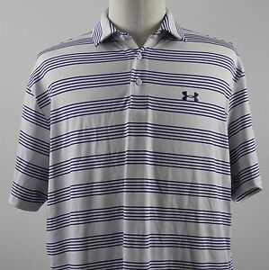 NEW Under Armour Member's Bounce Loose HeatGear Polo Shirt MENS XL White Purple