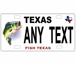 PERSONALIZED ALUMINUM BICYCLE MINI STATE LICENSE PLATE-TEXAS FISH