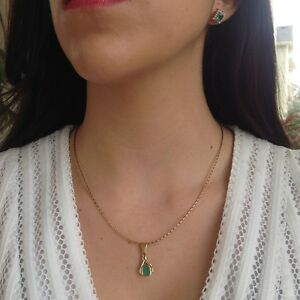 1.00cts Elegant 100% NATURAL Colombian Emerald Pendant 18K Gold