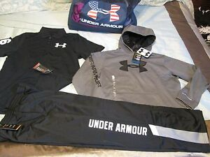 NEW Boys UNDER ARMOUR 3Pc Outfit BlkGray Hoodie+Pants+Polo YXL 18-20 FREE SHIP!