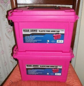 2 - PINK Bear Arms Field Ammo Box Ammunition Plastic Storage Container O-Ring