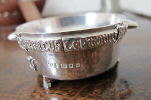 HM SOLID SILVER ARTS & CRAFTS PLANISHED WINCHESTER BUSHEL BOWL - F J ROSS - 1904