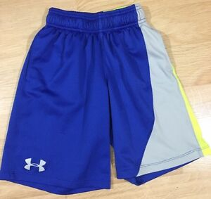 Under Armour Shorts Youth Small Loose Wit Pockets Blue Gray And Neon Yellow $12.00