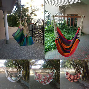 Hangit Portable Thick Canvas Beach Rope Hammock Outdoor & Swing Garden Bed