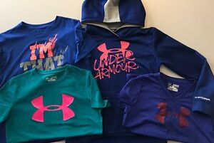Lot 4 UNDER ARMOUR Girls STORM Graphic Hoodie Sweatshirt Loose Shirts YMD