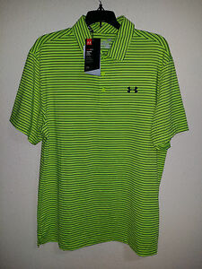 $65 NEW Mens L Under Armour Playoff Polo Shirt Fuel Green Stripe Golf Bowling