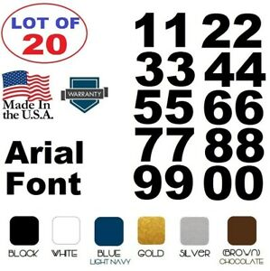 Lot of 20 White,Black Vinyl Street Address,Mailbox Number Decal Stickers ARIAL