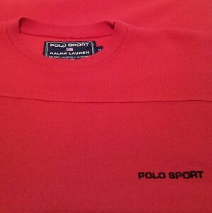 Vtg. Polo Sport Ralph Lauren Men's LS Red Embroidered Spellout Thermal Shirt M