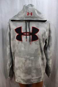 Under Armour Gray Camo Pullover Hoodie Red Black Logo Mens Size L Loose
