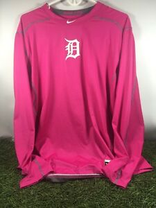 Detroit Tigers Team Issued Pink Long Sleeve Nike Pro Combat Dri Fit Shirt XL New