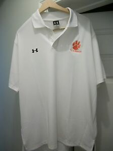 Under Armour NWT CLEMSON Tigers Golf Polo shirt (Large) White style is Heat Gear