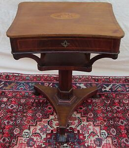 EARLY 19TH C REGENCY CONCH SHELL INLAID MAHOGANY ANTIQUE TABLE ANTIQUE STAND $1275.00