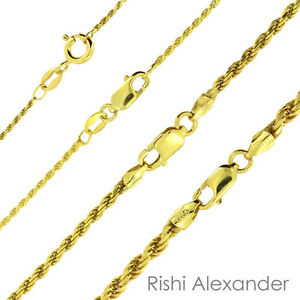 14K Gold over 925 Sterling Silver Diamond Cut Rope Chain Necklace All Sizes $28.99