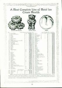 Catalog Page Ad Pettee Co Ice Cream Scoops & Molds Soda Fountain Supply  1922
