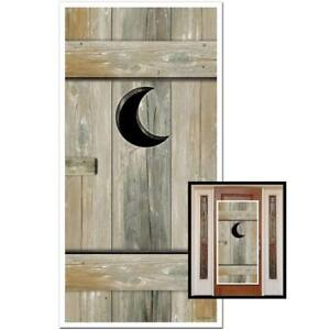 Outhouse Door Cover All Weather Indoor Outdoor Use Western Party Scene Decor