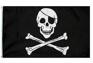 3X5 Jolly Roger Pirate Eye Patch Skull Crossbones Flag 3'x5' Banner USA SELLER