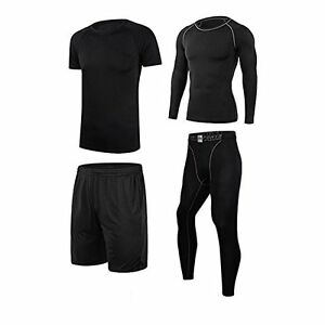 Mens Tracksuit Vogvigo 4 Pack Dry Fit Compression Athletic Tight Short  Long T