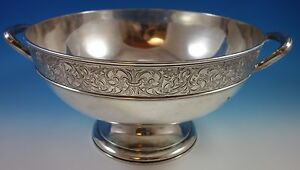 White Paisley by Gorham Sterling Silver Punch Bowl Bright-Cut Scrollwork (#1588)