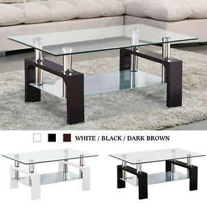 Modern Glass Chrome Coffee Table End Side Table w Shelves Living Room Furniture