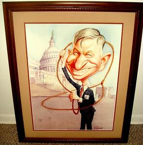 Original SIGNED Painting of WILL ROGERS by ROMAN GENN (National Review artist)