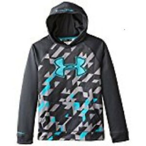 Under Armour Youth Boys Storm Fleece Lined Printed Big Logo Hoodie Black X-Small