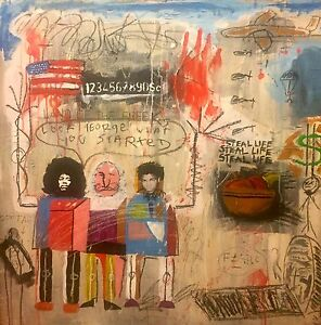 Mixed Media Contemporary Painting - Possibly Basquiat