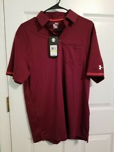NWT Men's Medium Under Armour UA Tips Pocket Golf Polo Shirt 1259442 Maroon $99