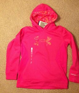 Under Armour Storm Cold Gear logo hoodie sweatshirt girls L pink running fitness