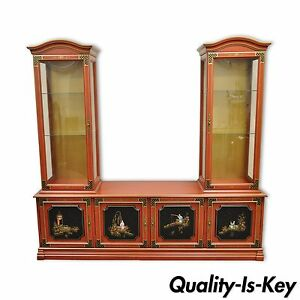 Vintage Jasper Oriental Chinoiserie Red Display China Cabinet Curio Credenza