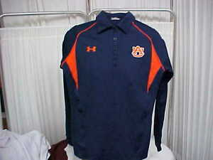 Auburn Tigers Sideline Long Sleeve Polo NavyOrange Under Armour Women's Sz Sm