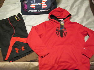 NEW Boys UNDER ARMOUR 2Pc Outfit SPIDERMAN Hoodie+Shorts YXL 18-20 FREE SHIP!