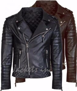 New Men#x27;s Genuine Lambskin Leather Jacket BLACK amp; BROWN Slim fit Biker jacket