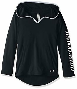 Under Armour Girls Tech Hoodie BlackWhite Youth Small